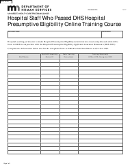 """Form DHS-3889-ENG """"Hospital Staff Who Passed DHS Hospital Presumptive Eligibility Online Training Course"""" - Minnesota"""