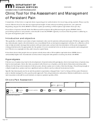 """Form DHS-6109-ENG """"Clinic Tool for the Assessment and Management of Persistent Pain"""" - Minnesota"""
