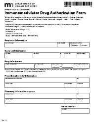 "Form DHS-5212-ENG ""Immunomodulator Drug Authorization Form"" - Minnesota"