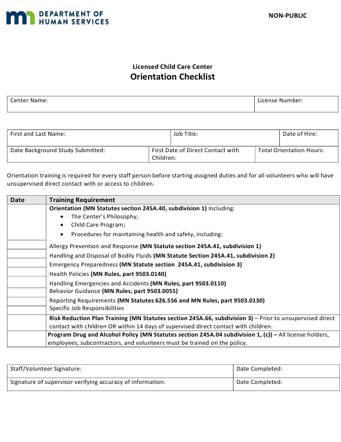 """""""Orientation Checklist - Non-public - Licensed Child Care Center"""" - Minnesota Download Pdf"""