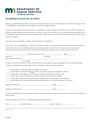 """Form DHS-7218-ENG """"Swaddling Consent for an Infant"""" - Minnesota"""
