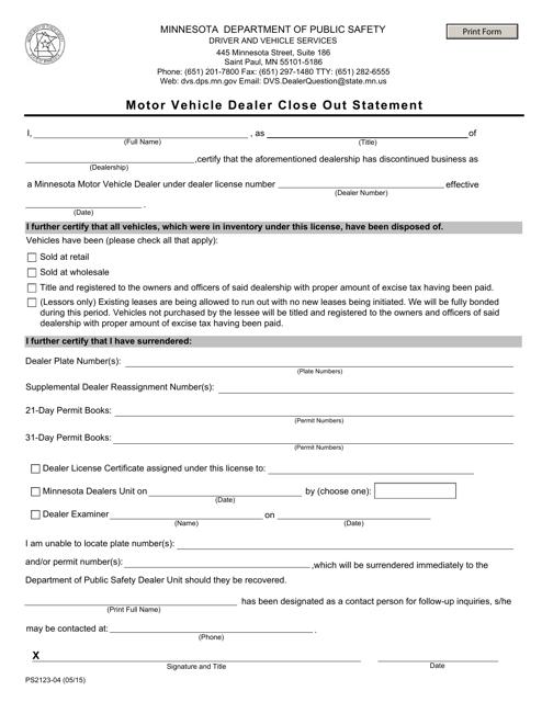 Form PS2123-04  Printable Pdf