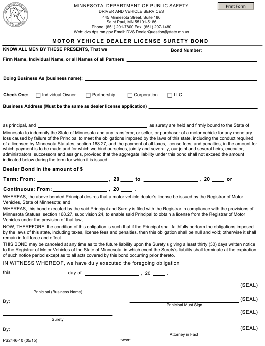 Form PS2446-10  Printable Pdf