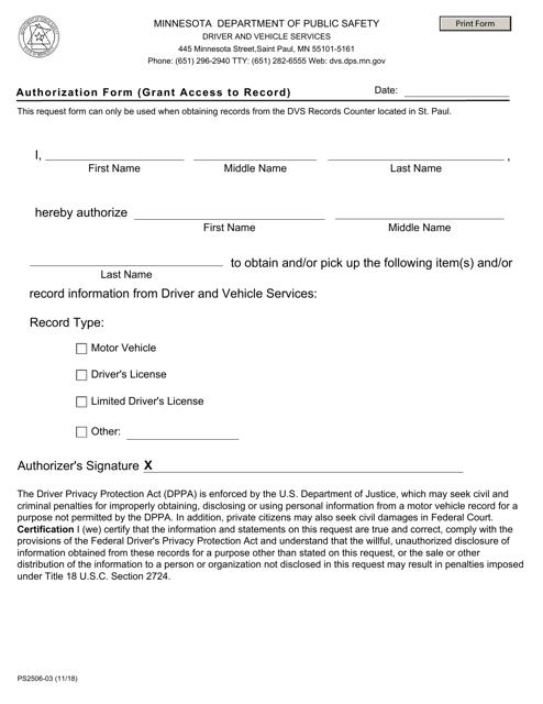Form PS2506-03  Printable Pdf