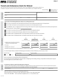"Form PDR-1T ""Transit and Ambulance Claim for Refund"" - Minnesota"