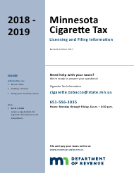 """Form CT100 """"License Application for Cigarette Distributors and Subjobbers"""" - Minnesota, 2019"""