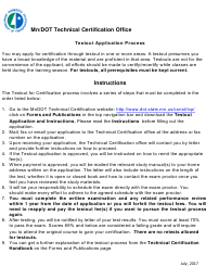 """Test-Out Application for Mn/Dot Technical Certification"" - Minnesota"