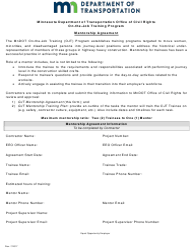 """Mentorship Agreement Form - on-The-Job Training Program"" - Minnesota"