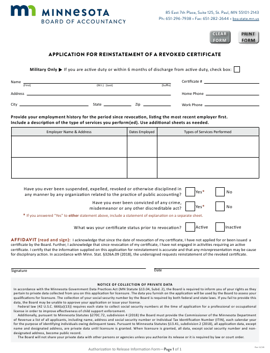 """""""Application Form for Reinstatement of a Revoked Certificate"""" - Minnesota Download Pdf"""
