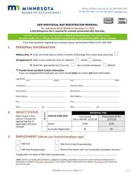 """Individual Rap Registration Renewal Form"" - Minnesota, 2019"