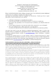 """Form EXP101 """"Petitioner's Instructions for Expungement (Sealing) of Criminal Records"""" - Minnesota (English/Spanish)"""