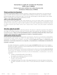 "Form OFP101 ""Instructions to Apply for an Order for Protection (Minn. Stat. 518b.01)"" - Minnesota (English/Spanish)"