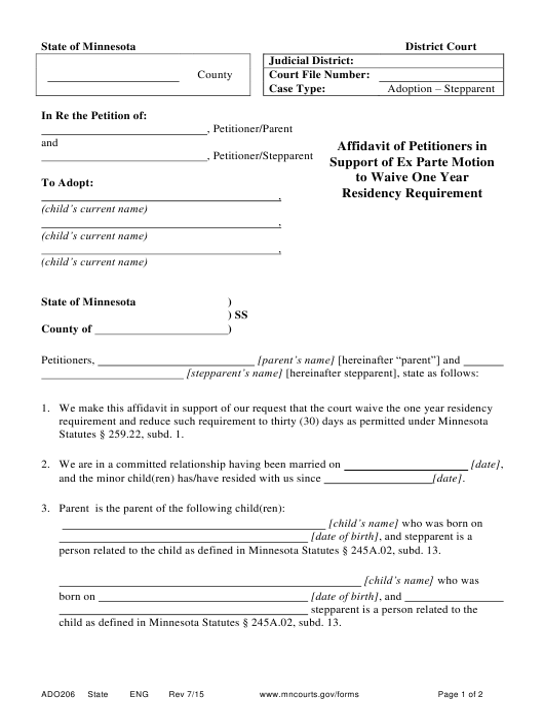 Form ADO206  Printable Pdf