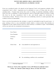 """Notice Regarding Oral Argument in the Minnesota Supreme Court"" - Minnesota"