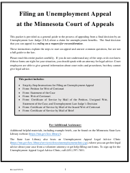 """""""Unemployment Appeal Packet"""" - Minnesota"""
