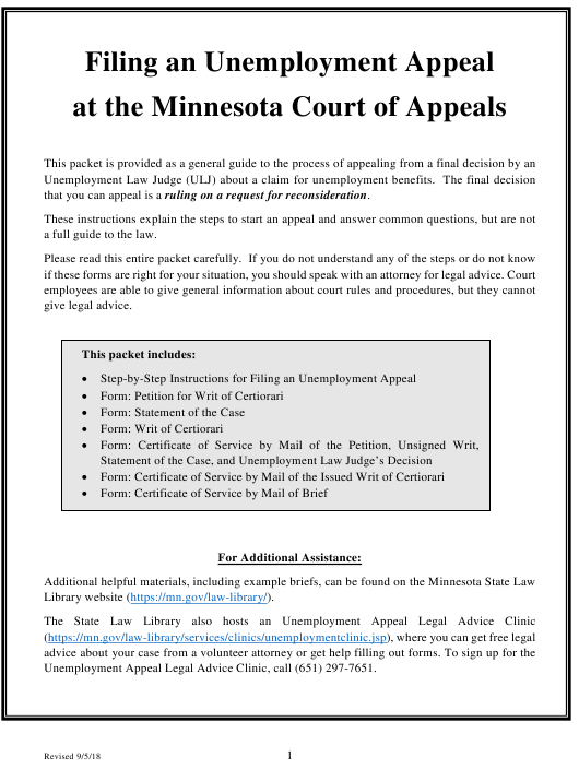 """""""Unemployment Appeal Packet"""" - Minnesota Download Pdf"""