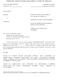 """Form 103C """"Notice of Related Appeal (Court of Appeals)"""" - Minnesota"""