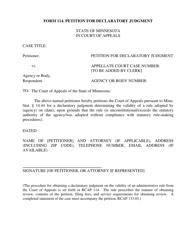 "Form 114 ""Petition for Declaratory Judgment"" - Minnesota"
