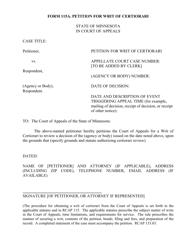 "Form 115A ""Petition for Writ of Certiorari"" - Minnesota"
