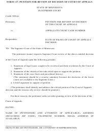 "Form 117 ""Petition for Review of Decision of Court of Appeals"" - Minnesota"