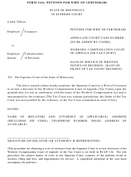 "Form 116A ""Petition for Writ of Certiorari"" - Minnesota"