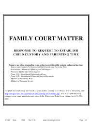 """Form CHC201 """"Instructions - Response to Request to Establish Child Custody and Parenting Time"""" - Minnesota"""