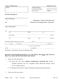 """Form PAR202 """"Responsive Notice of Motion and Motion for Parenting Time Assistance"""" - Minnesota"""