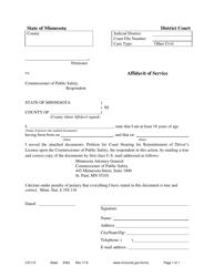 "Form CIV112 ""Affidavit of Service"" - Minnesota"