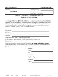 "Form CCT701 ""Power of Attorney for Conciliation Court Case"" - Minnesota"