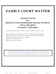 """Form DIV601 """"Instructions for Request for Temporary Relief Pending Final Hearing Without Children"""" - Minnesota"""
