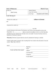 "Form DIV815 ""Affidavit of Default"" - Minnesota"