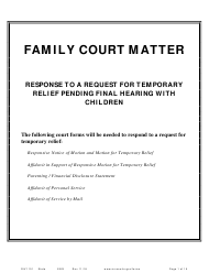 "Form DIV1101 ""Response to a Request for Temporary Relief Pending Final Hearing With Children"" - Minnesota"