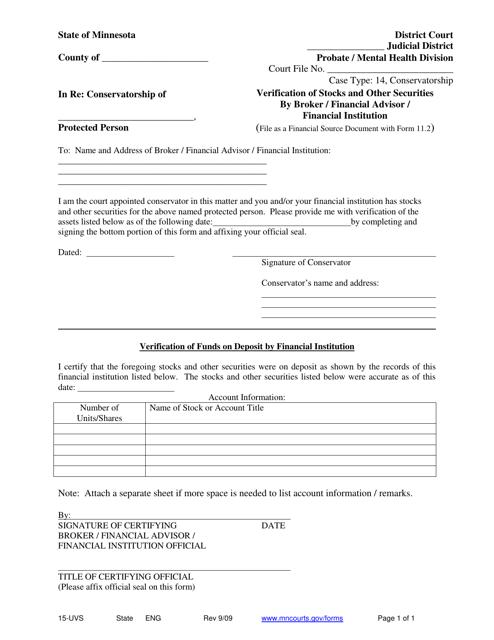Form 15-UVS  Printable Pdf