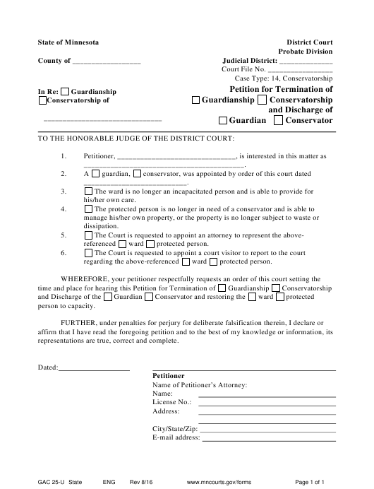 photograph about Printable Guardianship Forms known as Style GAC 25-U Obtain Printable PDF, Peion for