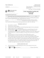 """Form GAC8-UM """"Order Appointing Guardian and Conservator (Minor)"""" - Minnesota"""