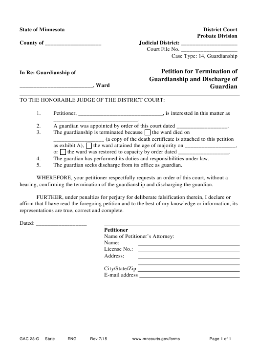 photograph regarding Printable Guardianship Forms identify Variety GAC 28-G Down load Printable PDF, Peion for