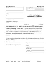 "Form MOV112 ""Affidavit of Mailing to Commissioner of Public Safety"" - Minnesota"