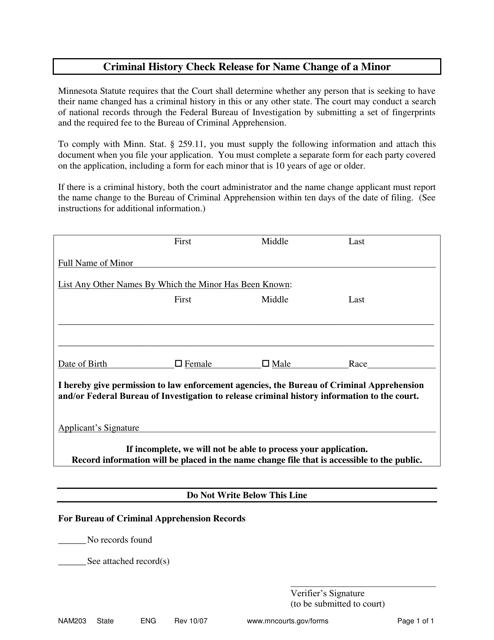 Form NAM203 Printable Pdf
