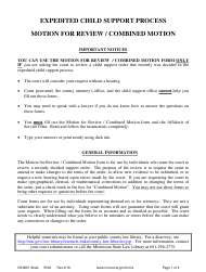 "Form CSX801 ""Instructions for Motion for Review / Combined Motion - Expedited Child Support Process"" - Minnesota"
