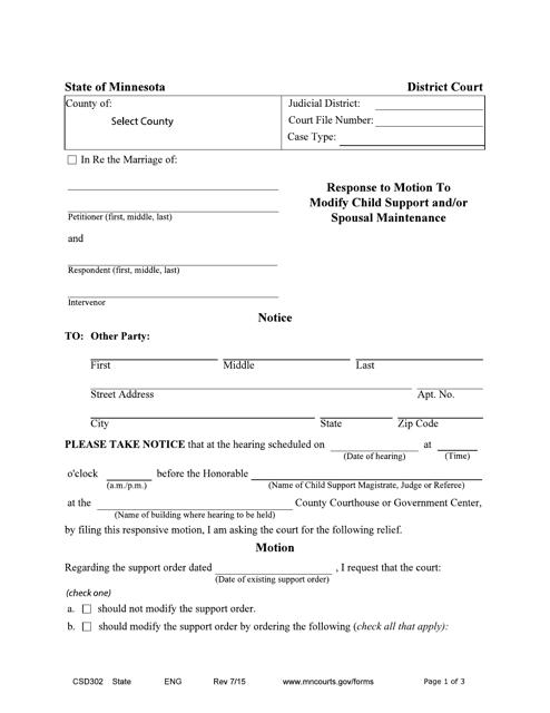 Form CSD302  Printable Pdf