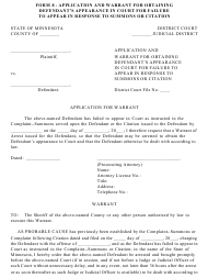"Form 8 ""Application and Warrant for Obtaining Defendant's Appearance in Court for Failure to Appear in Response to Summons or Citation"" - Minnesota"