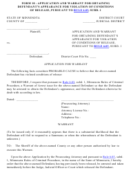 "Form 10 ""Application and Warrant for Obtaining Defendant's Appearance for Violation of Conditions of Release, Pursuant to Rule 6.03, Subd. 1"" - Minnesota"