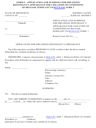 "Form 9 ""Application and Summons for Obtaining Defendant's Appearance for Violation of Conditions of Release, Pursuant to Rule 6.03, Subd. 1"" - Minnesota"
