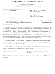 "Form 40 ""Receipt of Transcript by Appellant"" - Minnesota"