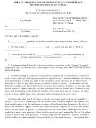 "Form 39 ""Request for Determination of Competency to Proceed Pro Se on Appeal"" - Minnesota"