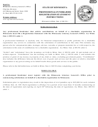 Form PFR 1 Professional Fundraiser Registration Statement - Minnesota