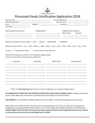 """Processed Foods Certification Application Form"" - Mississippi, 2018"