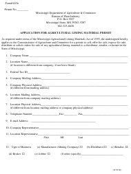 """Form 1636 """"Application for Agricultural Liming Material Permit"""" - Mississippi"""
