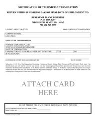 """Notification of Technician Termination"" - Mississippi"