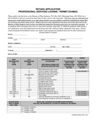 """Retake Application Form - Professional Services License / Permit Exam(S)"" - Mississippi"
